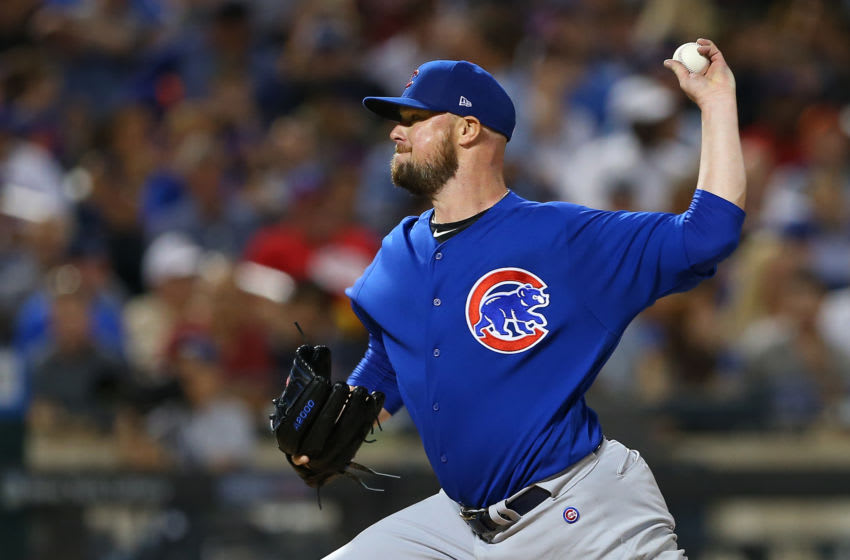 NEW YORK, NY - AUGUST 29: Jon Lester #34 of the Chicago Cubs in action against the New York Mets during the first inning of a game at Citi Field on August 29, 2019 in New York City. (Photo by Rich Schultz/Getty Images)