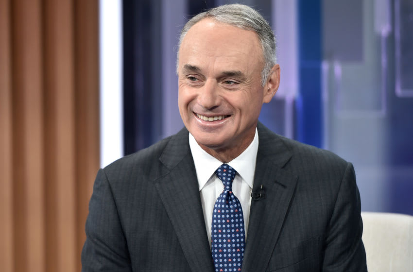 NEW YORK, NEW YORK - SEPTEMBER 30: (EXCLUSIVE COVERAGE) MLB Commissioner Rob Manfred visits