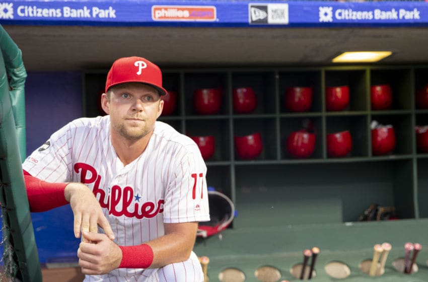 PHILADELPHIA, PA - SEPTEMBER 27: Rhys Hoskins #17 of the Philadelphia Phillies looks on from the dugout prior to the game against the Miami Marlins at Citizens Bank Park on September 27, 2019 in Philadelphia, Pennsylvania. The Phillies defeated the Marlins 5-4 in fifteenth inning. (Photo by Mitchell Leff/Getty Images)
