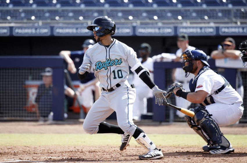 GLENDALE, AZ - OCTOBER 15: Victor Victor Mesa #10 of the Salt River Rafters (Miami Marlins) bats against the Peoria Javelinas during an Arizona Fall League game at Peoria Sports Complex on October 16, 2019 in Peoria, Arizona. (Photo by Joe Robbins/Getty Images)