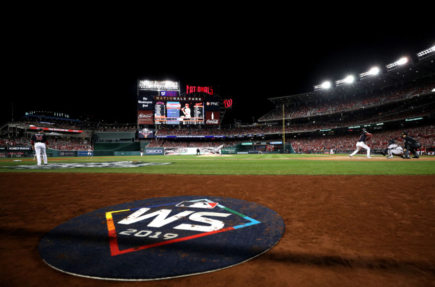 WASHINGTON, DC - OCTOBER 26: A view of the on deck circle featuring the World Series logo as Jose Urquidy #65 of the Houston Astros pitches to Trea Turner #7 of the Washington Nationals in Game Four of the 2019 World Series at Nationals Park on October 26, 2019 in Washington, DC. (Photo by Patrick Smith/Getty Images)