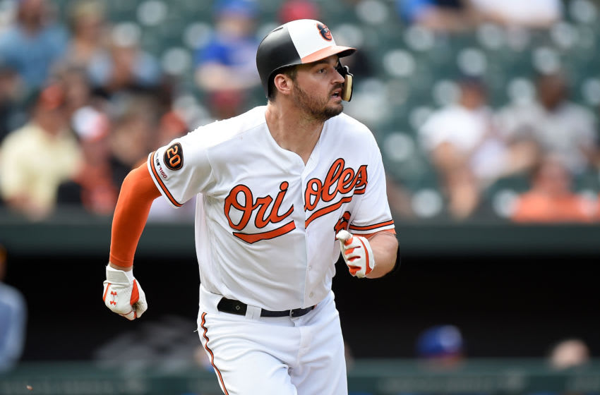 BALTIMORE, MD - SEPTEMBER 08: Trey Mancini #16 of the Baltimore Orioles runs to first base against the Texas Rangers at Oriole Park at Camden Yards on September 8, 2019 in Baltimore, Maryland. (Photo by G Fiume/Getty Images)