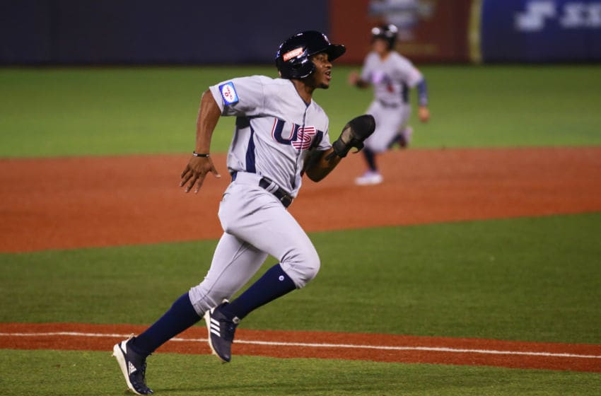 ZAPOPAN, MEXICO - NOVEMBER 04: Xavier Edwards of United States runs to base during the WBSC Premier 12 Group A match between USA and Dominican Republic at Estadio de Beisbol Charros de Jalisco on November 4, 2019 in Zapopan, Mexico. (Photo by Alfredo Moya/Jam Media/Getty Images)