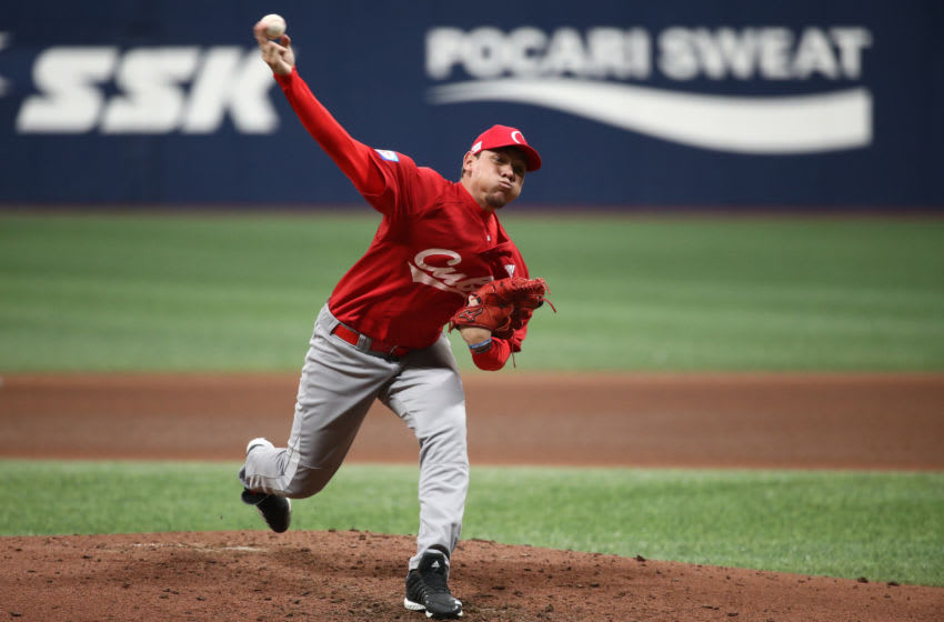 SEOUL, SOUTH KOREA - NOVEMBER 06: Pitcher Yariel Rodriguez #29 of Cuba throws in the top of sixth inning during the WBSC Premier 12 Opening Game Group C game between Cuba and Canada at the Gocheok Sky Dome on November 06, 2019 in Seoul, South Korea. (Photo by Chung Sung-Jun/Getty Images)