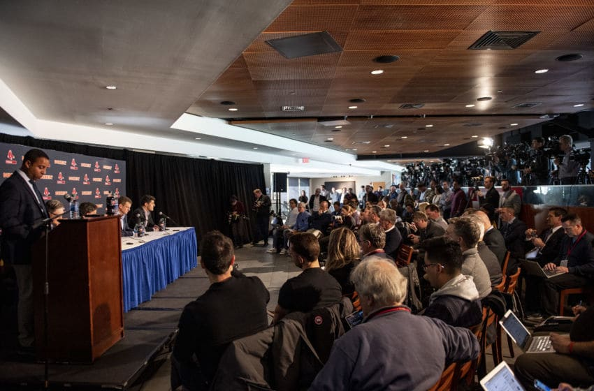 BOSTON, MA - JANUARY 15: Members of the media attend a press conference addressing the departure of manager Alex Cora of the Boston Red Sox on January 15, 2020 at Fenway Park in Boston, Massachusetts. (Photo by Billie Weiss/Boston Red Sox/Getty Images)