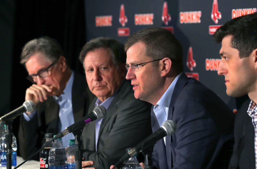 BOSTON, MA - JANUARY 15: (L-R) Red Sox principal owner John Henry, Chairman Tom Warner, President and CEO Sam Kennedy and Chief Baseball officer Chaim Bloom hold a press conference at Fenway Park in Boston following the Boston Red Sox's split with its manager, Alex Cora, on Jan. 15, 2020. Cora is at the center of a Houston Astros cheating scandal and is currently being investigated by the MLB. (Photo by John Tlumacki/The Boston Globe via Getty Images)