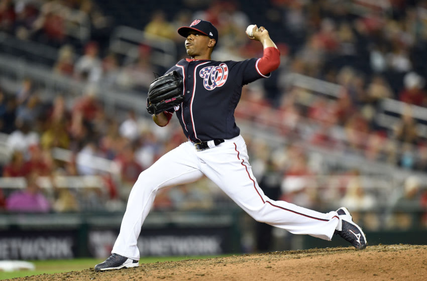 WASHINGTON, DC - AUGUST 30: Roenis Elias #29 of the Washington Nationals pitches against the Miami Marlins at Nationals Park on August 30, 2019 in Washington, DC. (Photo by G Fiume/Getty Images)