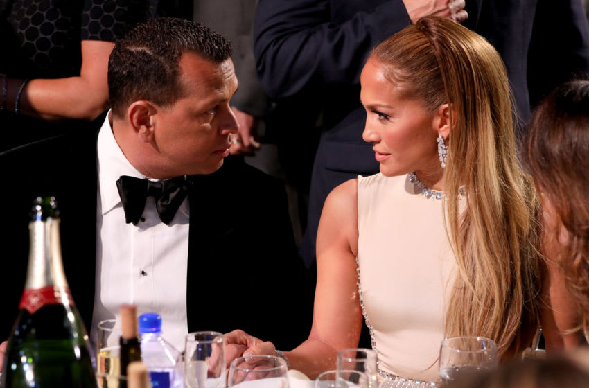 SANTA MONICA, CALIFORNIA - JANUARY 12: (L-R) Alex Rodriguez and Jennifer Lopez attend the 25th Annual Critics' Choice Awards at Barker Hangar on January 12, 2020 in Santa Monica, California. (Photo by Ari Perilstein/Getty Images for Niche lmport Co.)