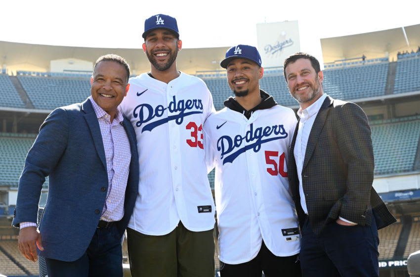 LOS ANGELES, CA - FEBRUARY 12: Manager Dave Roberts newly acquired Los Angeles Dodgers David Price #33 and Mookie Betts #50 and general manager Andrew Friedman pose for a photo during the introductory press conference at Dodger Stadium on February 12, 2020 in Los Angeles, California. (Photo by Jayne Kamin-Oncea/Getty Images)