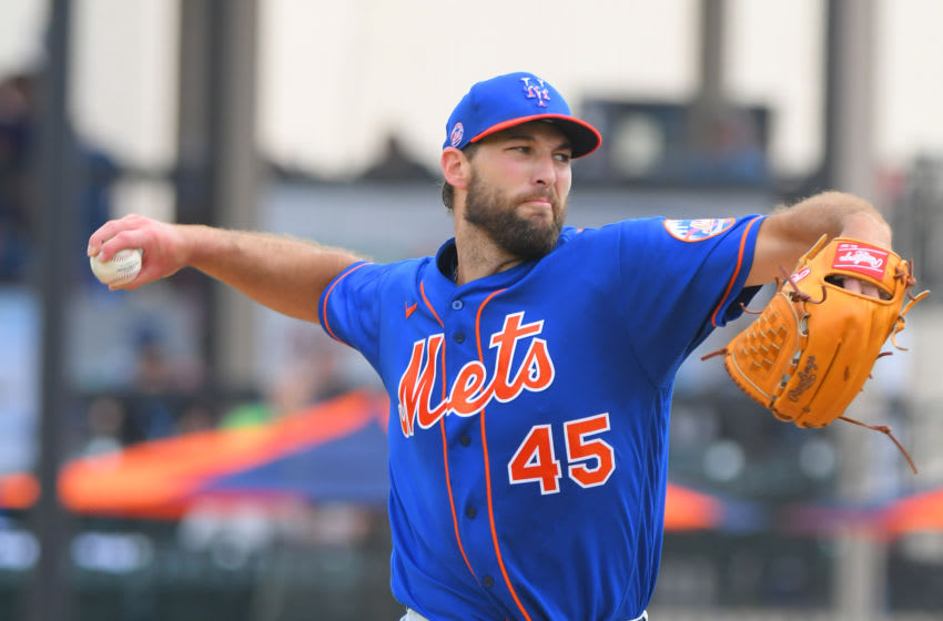 LAKELAND, FL - FEBRUARY 25: Michael Wacha #45 of the New York Mets pitches during the Spring Training game against the Detroit Tigers at Publix Field at Joker Marchant Stadium on February 25, 2020 in Lakeland, Florida. The Tigers defeated the Mets 9-6. (Photo by Mark Cunningham/MLB Photos via Getty Images)