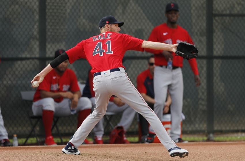 FORT MYERS, FLORIDA - FEBRUARY 17: Chris Sale #41 of the Boston Red Sox throws a bullpen session during a team workout at jetBlue Park at Fenway South on February 17, 2020 in Fort Myers, Florida. (Photo by Michael Reaves/Getty Images)
