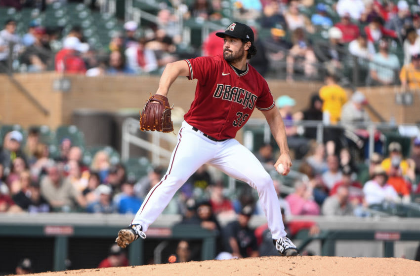 SCOTTSDALE, ARIZONA - FEBRUARY 23: Robbie Ray #38 of the Arizona Diamondbacks delivers a pitch in the spring training game against the Oakland Athletics at Salt River Fields at Talking Stick on February 23, 2020 in Scottsdale, Arizona. (Photo by Jennifer Stewart/Getty Images)