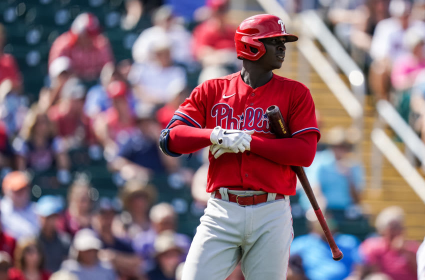 FORT MYERS, FL- FEBRUARY 26: Didi Gregorius #18 of the Philadelphia Phillies looks on during a spring training game against the Minnesota Twins on February 26, 2020 at the Hammond Stadium in Fort Myers, Florida. (Photo by Brace Hemmelgarn/Minnesota Twins/Getty Images)