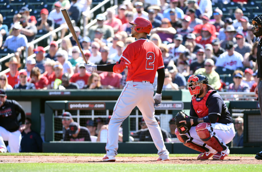 GOODYEAR, ARIZONA - MARCH 03: Andrelton Simmons #2 of the Los Angeles Angels gets ready in the batters box against the Cleveland Indians during a spring training game at Goodyear Ballpark on March 03, 2020 in Goodyear, Arizona. (Photo by Norm Hall/Getty Images)