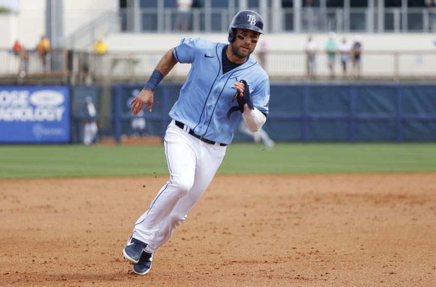PORT CHARLOTTE, FL - FEBRUARY 26: Kevin Kiermaier #39 of the Tampa Bay Rays runs the bases during a Grapefruit League spring training game against the Minnesota Twins at Charlotte Sports Park on February 26, 2020 in Port Charlotte, Florida. The Twins defeated the Rays 10-8. (Photo by Joe Robbins/Getty Images)