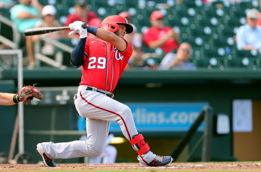 JUPITER, FL - MARCH 10: Yadiel Hernandez #29 of the Washington Nationals in action against the Miami Marlins during a spring training baseball game at Roger Dean Stadium on March 10, 2020 in Jupiter, Florida. The Marlins defeated the Nationals 3-2. (Photo by Rich Schultz/Getty Images)
