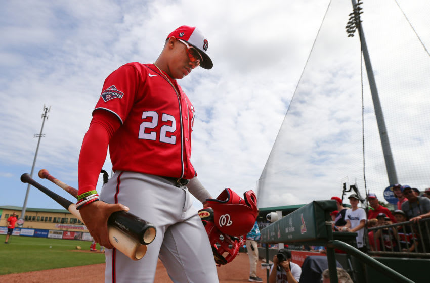 JUPITER, FL - MARCH 10: Juan Soto #22 of the Washington Nationals in action against the Miami Marlins during a spring training baseball game at Roger Dean Stadium on March 10, 2020 in Jupiter, Florida. The Marlins defeated the Nationals 3-2. (Photo by Rich Schultz/Getty Images)