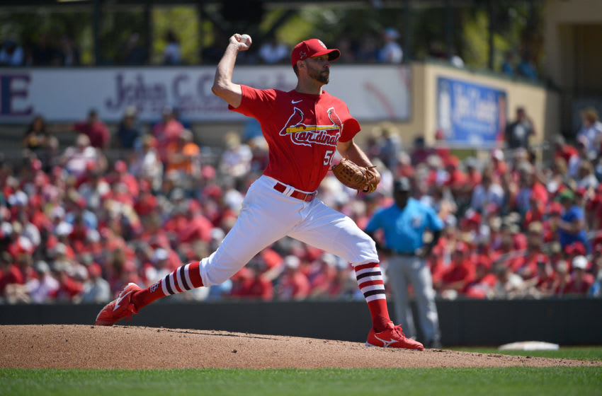 JUPITER, FLORIDA - MARCH 12: Adam Wainwright #50 of the St. Louis Cardinals delivers a pitch during the spring training game against the Miami Marlins at Roger Dean Chevrolet Stadium on March 12, 2020 in Jupiter, Florida. (Photo by Mark Brown/Getty Images)