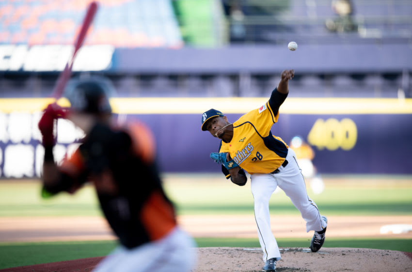 TAICHUNG, TAIWAN - APRIL 12: Pitcher Ariel Miranda #28 of CTBC Brothers pitching during the CPBL game between CTBC Brothers and Uni-President Lions at Taichung Intercontinental Baseball Stadium on April 12, 2020 in Taichung, Taiwan. 31th CPBL regular season start at April,11, 2020,and due to COVID-19,only staffs and press member can attend the game,and must wear facemask all the time. (Photo by Gene Wang/Getty Images)