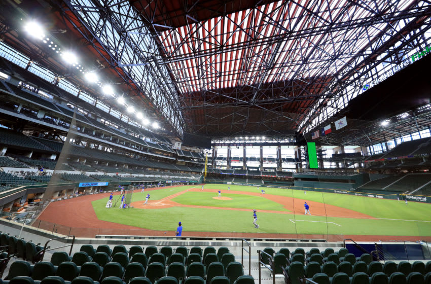 ARLINGTON, TEXAS - JULY 09: A view of the Texas Rangers during an intrasquad game during Major League Baseball summer workouts at Globe Life Field on July 09, 2020 in Arlington, Texas. (Photo by Tom Pennington/Getty Images)