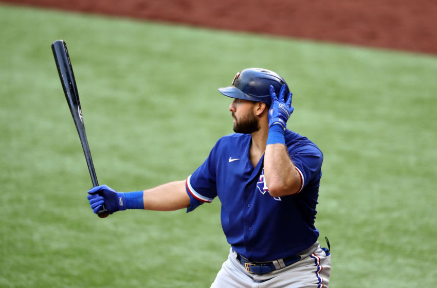 ARLINGTON, TEXAS - JULY 17: Joey Gallo #13 of the Texas Rangers during an intrasquad game during Major League Baseball summer workouts at Globe Life Field on July 17, 2020 in Arlington, Texas. (Photo by Ronald Martinez/Getty Images)