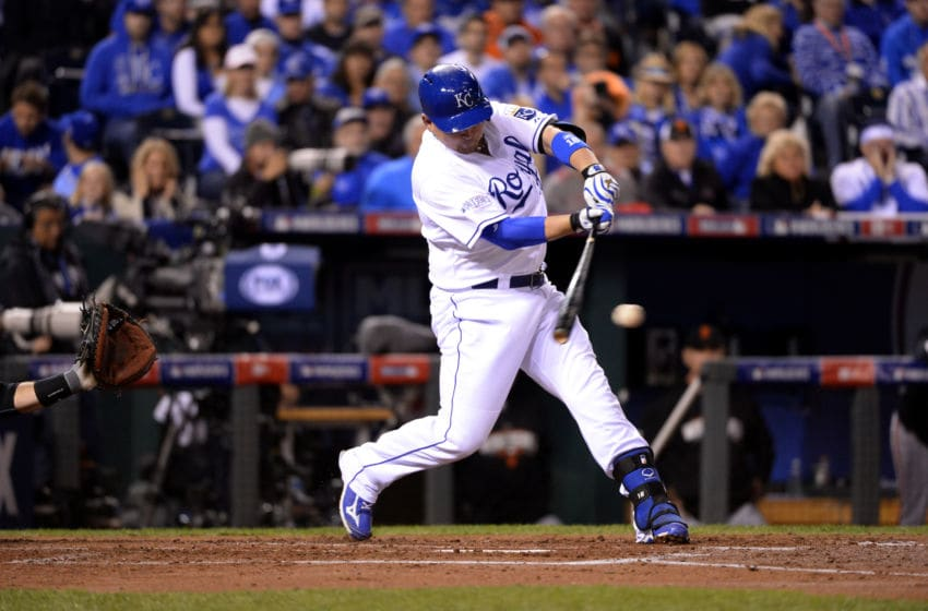 KANSAS CITY, MO - OCTOBER 29: Billy Butler #16 of the Kansas City Royals hits a single during Game 7 of the 2014 World Series against the San Francisco Giants on Wednesday, October 29, 2014 at Kauffman Stadium in Kansas City, Missouri. (Photo by Ron Vesely/MLB Photos via Getty Images)
