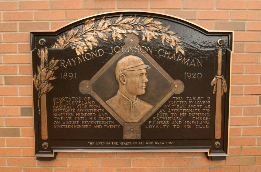 CLEVELAND, OH - APRIL 10: A detailed view of the plaque honoring former Cleveland Indians shortstop Ray Chapman displayed in Heritage Park inside Progressive Field prior to the Opening Day Game between the Detroit Tigers and the Cleveland Indians at Progressive Field on April 10, 2015 in Cleveland, Ohio. The Tigers defeated the Indians 8-4. (Photo by Mark Cunningham/MLB Photos via Getty Images)