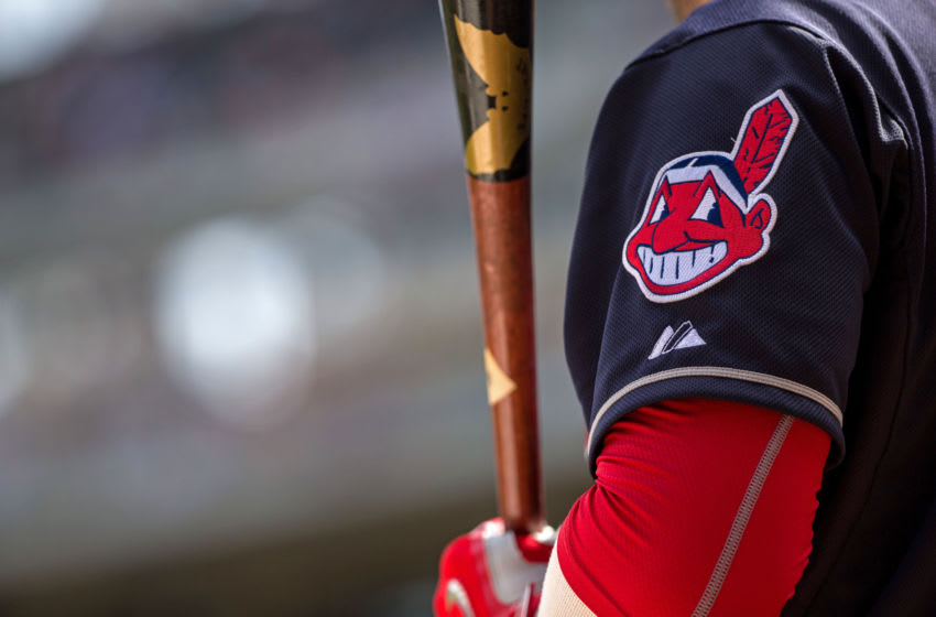 MINNEAPOLIS, MN- APRIL 18: The Cleveland Indians logo on a sleeve patch of the uniform against the Minnesota Twins on April 18, 2015 at Target Field in Minneapolis, Minnesota. The Indians defeated the Twins 4-2. (Photo by Brace Hemmelgarn/Minnesota Twins/Getty Images)