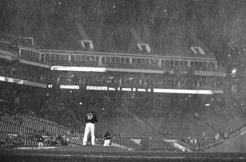 PITTSBURGH, PA - APRIL 22: Sleet and snow falls onto the field in the top of the seventh inning during the game between the Pittsburgh Pirates and the Chicago Cubs at PNC Park on April 22, 2015 in Pittsburgh, Pennsylvania. (Photo by Jared Wickerham/Getty Images)