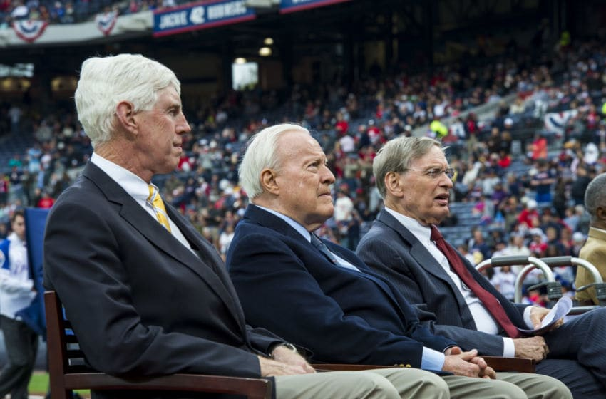 ATLANTA, GA - APRIL 8: Chairman Terry McGuirk of the Atlanta Braves, Bill Bartholomay and Major League Baseball commissioner Bud Selig during a ceremony honoring Aaron's 715th home run before the game between the Atlanta Braves and New York Mets at Turner Field on April 8, 2014 in Atlanta, Georgia. The Mets won 4-0. (Photo by Pouya Dianat/Atlanta Braves)