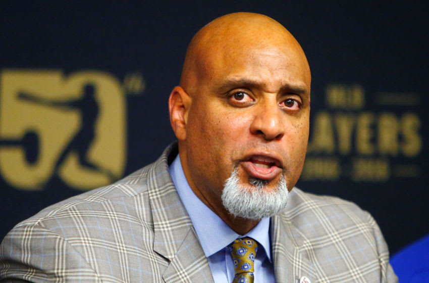 NEW YORK, NY - JUNE 16: MLBPA Executive Director Tony Clark speaks during a press conference on youth initiatives hosted by Major League Baseball and the Major League Baseball Players Association at Citi Field before a game between the New York Mets and the Pittsburgh Pirates on June 16, 2016 in the Queens borough of New York City. The Mets defeated the Pirates 6-4. (Photo by Jim McIsaac/Getty Images)