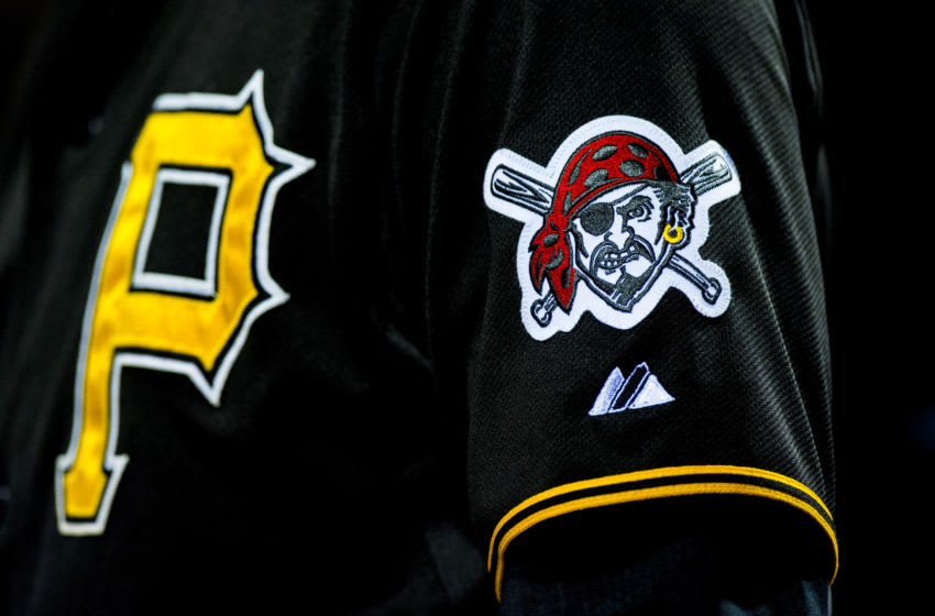 12 May 2015: The embroidered logo of the Pittsburg Pirates looks on during the MLB game between the Pittsburgh Pirates and the Philadelphia Phillies played at the Citizens Bank Park in Philadelphia, PA (Photo by Gavin Baker/Icon Sportswire/Corbis via Getty Images)