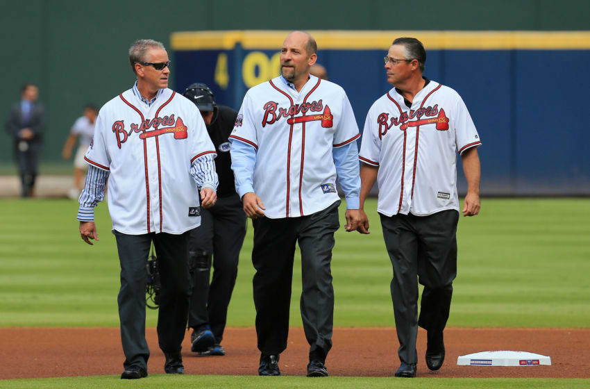 ATLANTA, GA - OCTOBER 02: Former Atlanta Braves players Tom Glavine, John Smoltz, and Greg Maddux are introduced as members of the All Turner Field Team prior to the game at Turner Field on October 2, 2016 in Atlanta, Georgia. (Photo by Daniel Shirey/Getty Images)