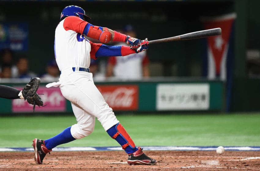 TOKYO, JAPAN - MARCH 15: Outfielder Roel Santos #10 of Cuba grournds out in the bottom of the third inning during the World Baseball Classic Pool E Game Five between Netherlands and Cuba at the Tokyo Dome on March 15, 2017 in Tokyo, Japan. (Photo by Matt Roberts/Getty Images)