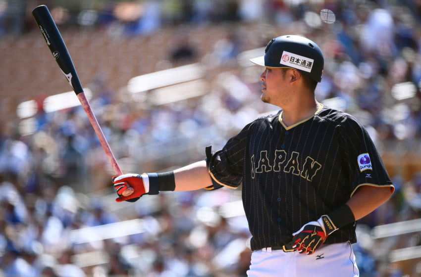 GLENDALE, AZ - MARCH 19: Yoshitomo Tsutsugo #25 of Japan is seen during the exhibition game between Japan and Los Angeles Dodgers at Camelback Ranch on March 19, 2017 in Glendale, Arizona. (Photo by Masterpress/Getty Images)