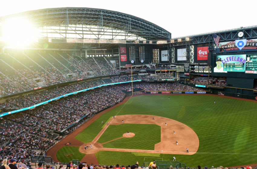 PHOENIX, AZ - APRIL 08: Overall view of the MLB game between the Cleveland Indians and Arizona Diamondbacks at Chase Field on April 8, 2017 in Phoenix, Arizona. The Arizona Diamondbacks won 11-2. (Photo by Jennifer Stewart/Getty Images)
