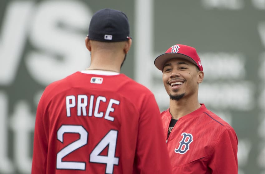 BOSTON, MA - MAY 23: Mookie Betts #50 of the Boston Red Sox talks with David Price #24 before a game against the Texas Rangers on May 23, 2017 at Fenway Park in Boston, Massachusetts. (Photo by Billie Weiss/Boston Red Sox/Getty Images)