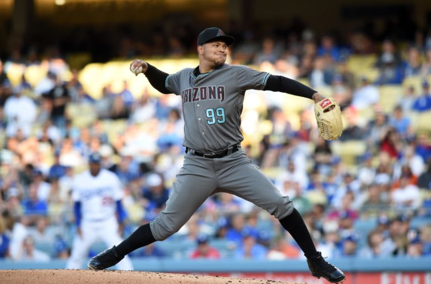 LOS ANGELES, CA - APRIL 14: Arizona Diamondbacks Starting pitcher Taijuan Walker (99) throws a pitch in the first inning during a Major League Baseball game between the Arizona Diamondbacks and the Los Angeles Dodgers on April 14, 2018 at Dodger Stadium in Los Angeles, CA. (Photo by Chris Williams/Icon Sportswire via Getty Images)