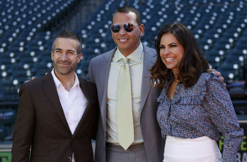 HOUSTON, TX - APRIL 15: Former New York Yankees player and ESPN commentator Alex Rodriguez (C), Jessica Mendoza and Matt Vasgersian pose at Minute Maid Park on April 15, 2018 in Houston, Texas. (Photo by Bob Levey/Getty Images)