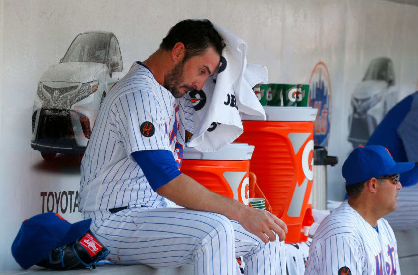 NEW YORK, NY - MAY 03: (NEW YORK DAILIES OUT) Matt Harvey #33 of the New York Mets sits in the dugout after he was removed from a game against the Atlanta Braves at Citi Field on May 3, 2018 in the Flushing neighborhood of the Queens borough of New York City. The Braves defeated the Mets 11-0. (Photo by Jim McIsaac/Getty Images)