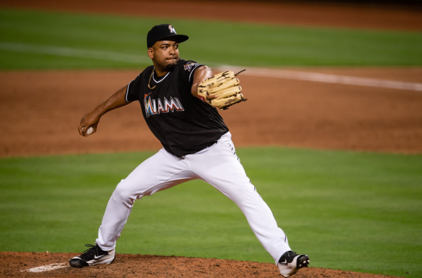 MIAMI, FL - MAY 25: Odrisamer Despaigne #43 of the Miami Marlins pitches during the game against the Washington Nationals at Marlins Park on May 25, 2018 in Miami, Florida. (Photo by Rob Foldy/Miami Marlins via Getty Images)