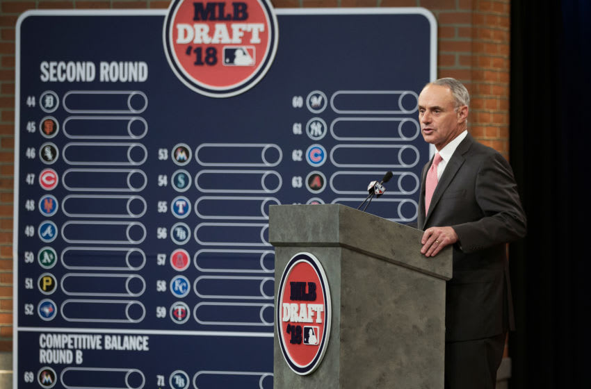 SECAUCUS, NJ - JUNE 4: Major League Baseball Commissioner Robert D. Manfred Jr. during the 2018 Major League Baseball Draft at Studio 42 at the MLB Network on Monday, June 4, 2018 in Secaucus, New Jersey. (Photo by Mary DeCicco/MLB Photos via Getty Images)