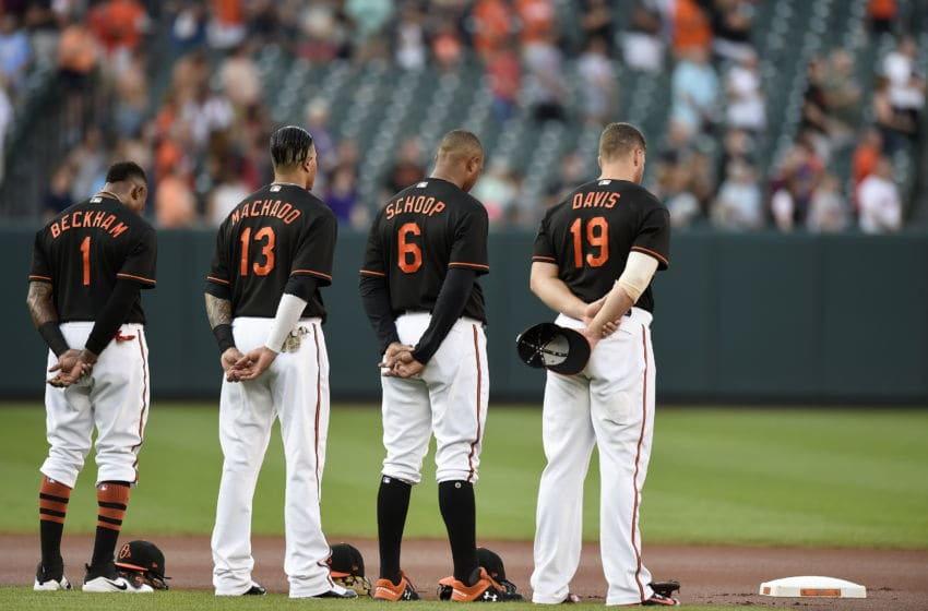 BALTIMORE, MD - JUNE 29: Tim Beckham #1, Manny Machado #13, Jonathan Schoop #6, and Chris Davis #19 of the Baltimore Orioles stand during a moment of silence for the five victims of the shooting at the Capital Gazette before a game against the Los Angeles Angels of Anaheim at Oriole Park at Camden Yards on June 29, 2018 in Baltimore, Maryland. (Photo by Patrick McDermott/Getty Images)