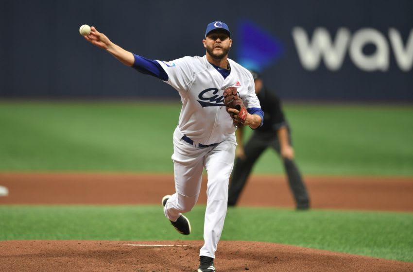 Pitcher Lazaro Blanco of Cuba pitches against Australia in the first inning during the WBSC Premier 12 Opening Round group C baseball game between Cuba and Australia at Gocheok Sky Dome in Seoul on November 7, 2019. (Photo by Jung Yeon-je / AFP) (Photo by JUNG YEON-JE/AFP via Getty Images)