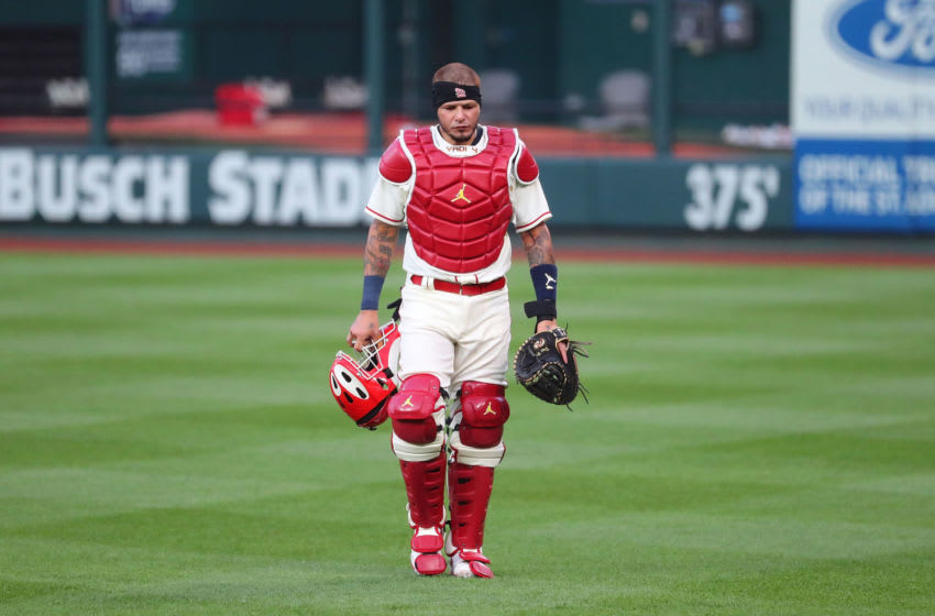 ST LOUIS, MO - AUGUST 22: Yadier Molina #4 of the St. Louis Cardinals returns from the bullpen prior to playing against the Cincinnati Reds at Busch Stadium on August 22, 2020 in St Louis, Missouri. (Photo by Dilip Vishwanat/Getty Images)