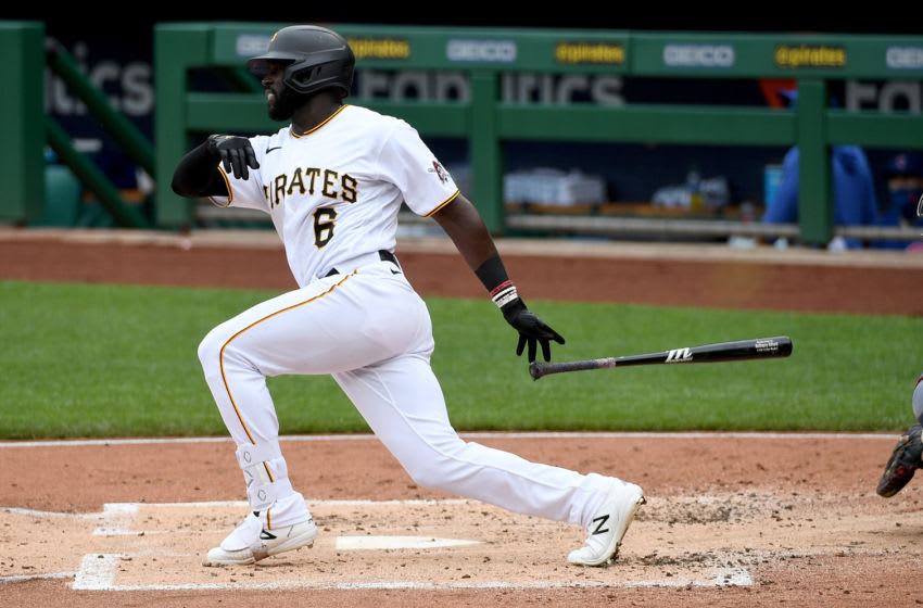 PITTSBURGH, PA - SEPTEMBER 03: Anthony Alford #6 of the Pittsburgh Pirates grounds out in the second inning during the game against the Chicago Cubs at PNC Park on September 3, 2020 in Pittsburgh, Pennsylvania. (Photo by Justin Berl/Getty Images)