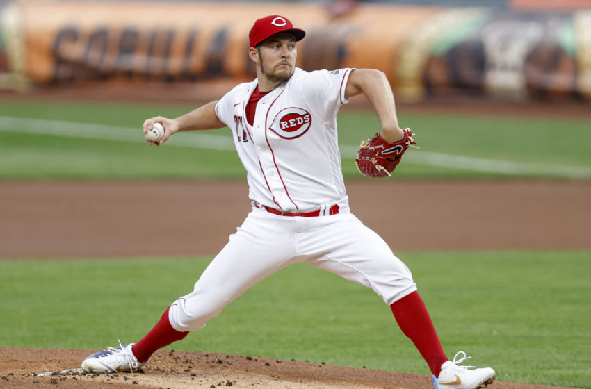 CINCINNATI, OH - SEPTEMBER 23: Trevor Bauer #27 of the Cincinnati Reds pitches during the game against the Milwaukee Brewers at Great American Ball Park on September 23, 2020 in Cincinnati, Ohio. (Photo by Michael Hickey/Getty Images)