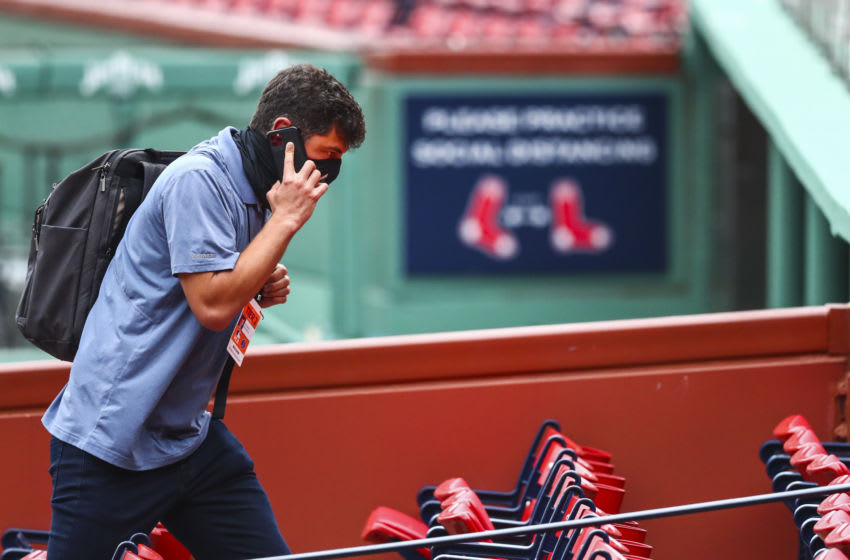BOSTON, MA - JULY 03: Chief Baseball Officer for the Boston Red Sox Chaim Bloom talks by the phone during Summer Workouts at Fenway Park on July 3, 2020 in Boston, Massachusetts. (Photo by Adam Glanzman/Getty Images)