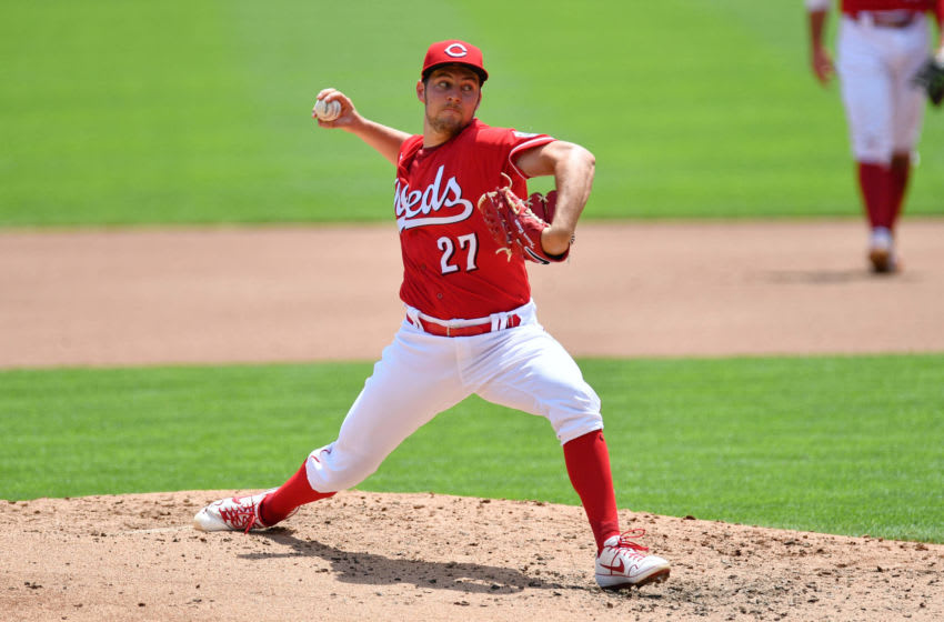 CINCINNATI, OH - JULY 26: Trevor Bauer #27 of the Cincinnati Reds pitches against the Detroit Tigers at Great American Ball Park on July 26, 2020 in Cincinnati, Ohio. (Photo by Jamie Sabau/Getty Images)