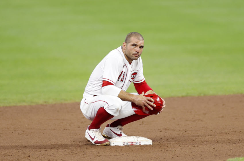 CINCINNATI, OH - JULY 27: Joey Votto #19 of the Cincinnati Reds looks on during the game against the Chicago Cubs at Great American Ball Park on July 27, 2020 in Cincinnati, Ohio. The Cubs defeated the Reds 8-7. (Photo by Joe Robbins/Getty Images)